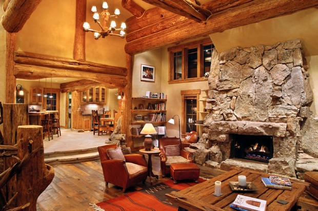 21 rustic log cabin interior design ideas style motivation for Log home interior designs