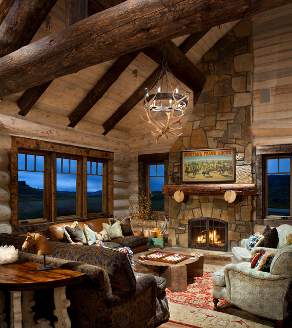 21 rustic log cabin interior design ideas style motivation for Decorate log cabin interior