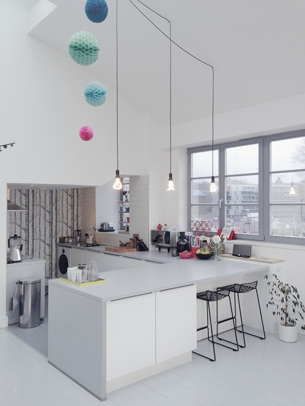 Kitchen-fully-refurbiched-and-new-Plumen-lighting-display