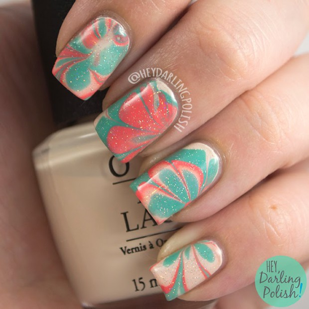 Mix of Turquoise, Coral and Nude Color Polishes for Perfect Summer Nail Art