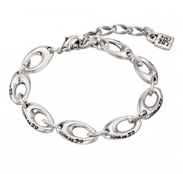 Silver-plated bracelet with irregular sized ovals and an adjustable clasp with a padlock