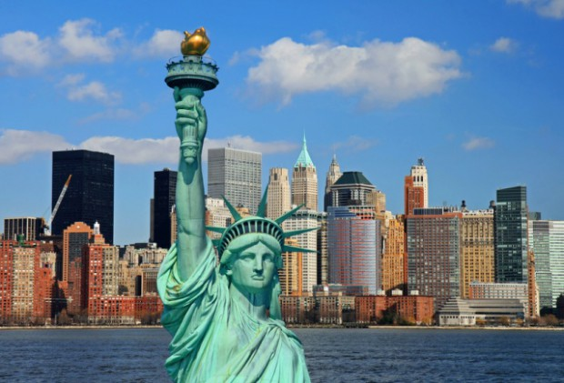 The Statue of Liberty and Manhattan Skyline