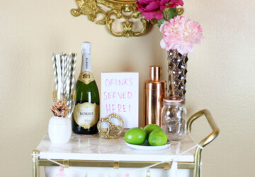 19 Chic DIY Bar Cart Design and Makeover Ideas - Stylish, Projects, project, makeover, DIY bar cart, diy, desing, crafts, craft, chic, cart, bar cart makeover, bar cart design, bar cart, bar