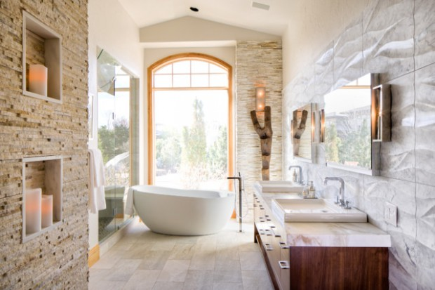 20 Exquisite Stone Wall Bathroom Ideas