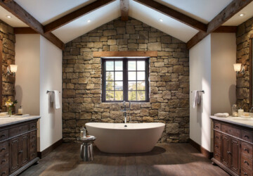 20 Exquisite Stone Wall Bathroom Ideas - wall, stone wall bathroom, stone wall, stone, home desing, home decor, home, design, decorating ideas, decorating, bathroom ideas, bathroom idea, bathroom