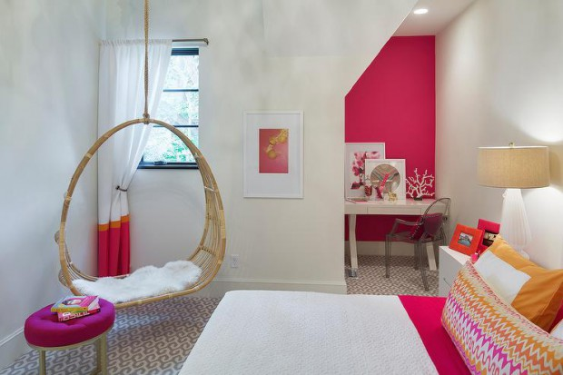 circular-hanging-rattan-chair-hot-pink-round-tufted-ottoman-kids-desk-nook