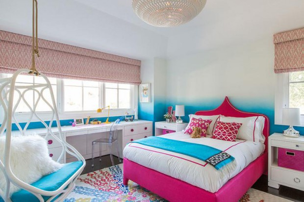 confetti-floral-rug-pink-moroccan-headboard-turquoise-ombre-walls