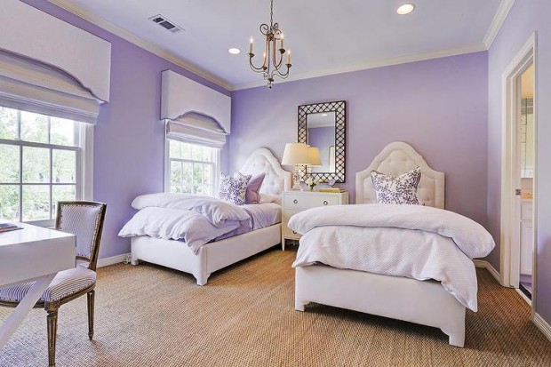 purple-girls-bedroom-curved-cornice-box-twin-tufted-beds-lattice-mirror