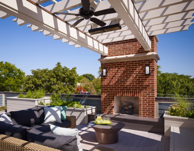 20 Rooftop Terrace Fireplace And Fire Pit Design Ideas To