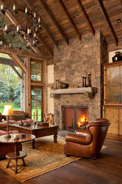 rustic fireplace living room (1)