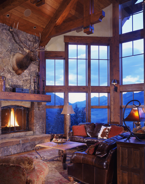 rustic fireplace living room (10)