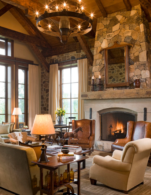 rustic fireplace living room (11)