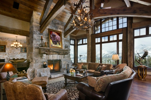 rustic fireplace living room (12)