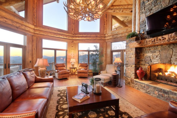 rustic fireplace living room (13)