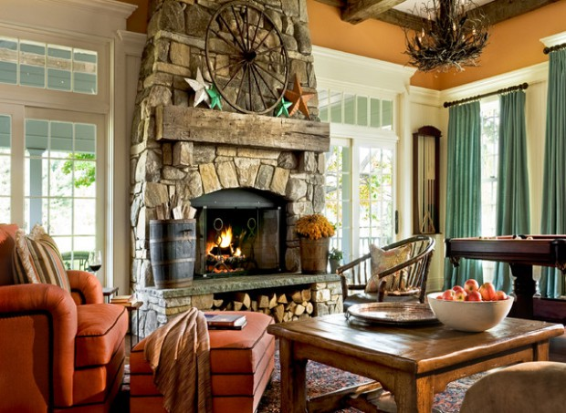 rustic fireplace living room (15)