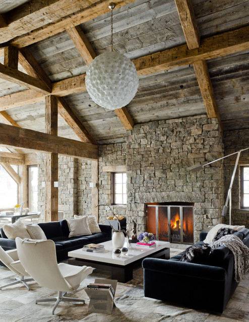 rustic fireplace living room (2)