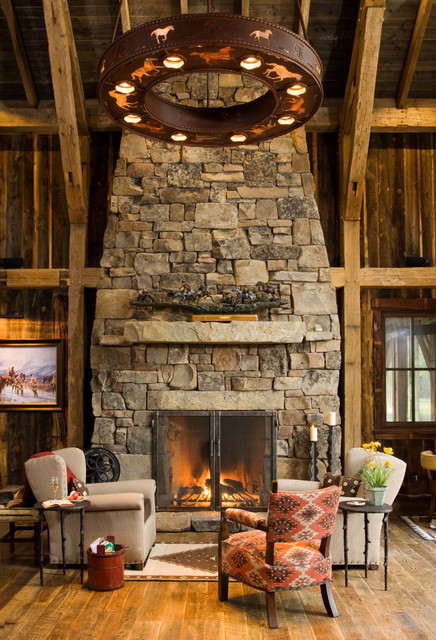 rustic fireplace living room (3)