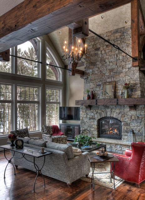 rustic fireplace living room (4)