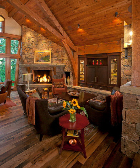 rustic fireplace living room (5)