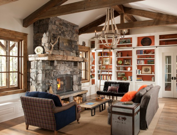 rustic fireplace living room (6)