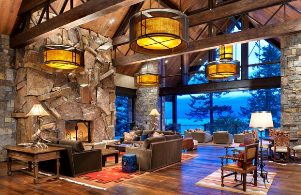 rustic fireplace living room (7)