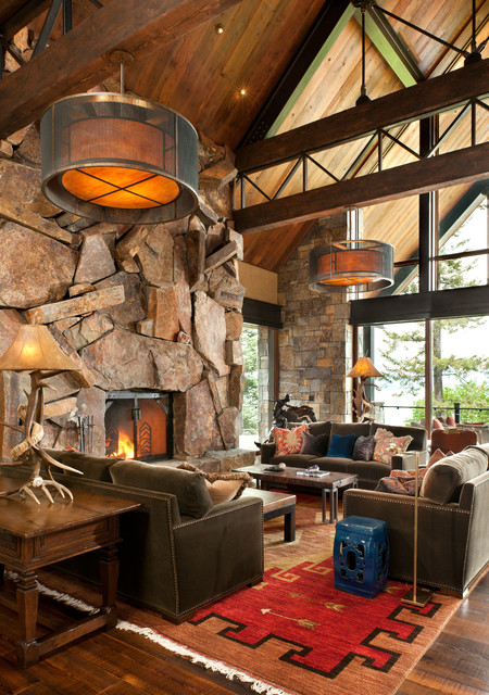 rustic fireplace living room (9)