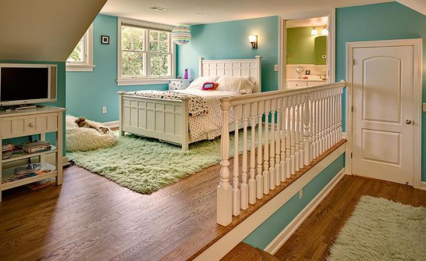 step-up-kids-bedroom-blue-and-green-girls-room-green-shag-rug