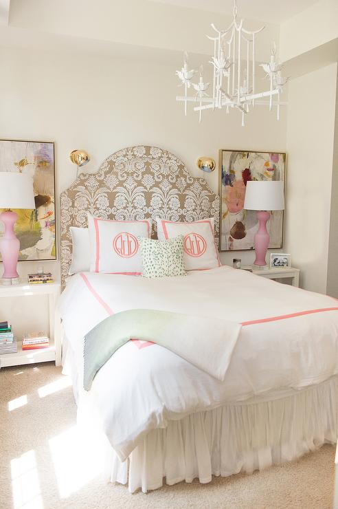 white-pagoda-chandelier-pink-monogrammed-kids-bedding-pink-lamps