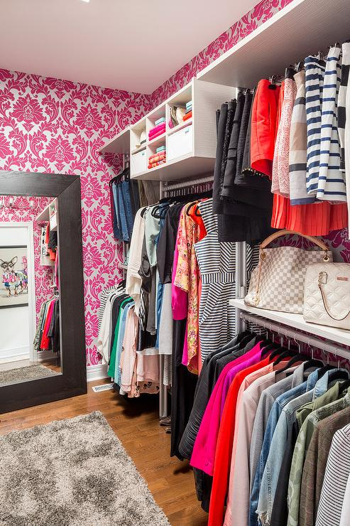 hot-pink-damask-closet-wallpaper-espresso-stained-leaning-mirror