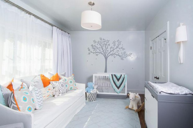 orange-and-gray-boy-nursery-tree-mural-white-daybed-2-tone-dresser