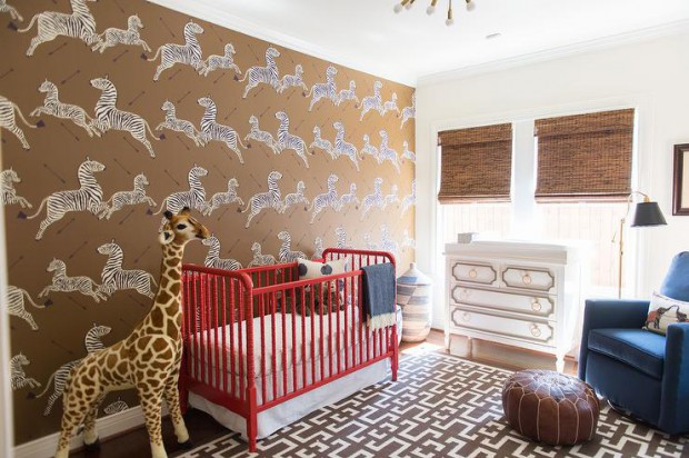 scalamandre-zebras-wallpaper-red-and-brown-boy-nursery