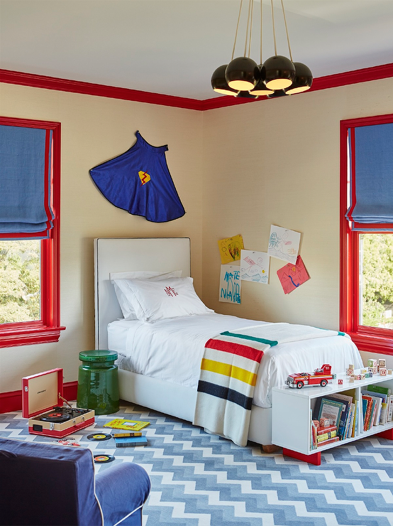 superhero-cape-over-kids-bed-red-and-blue-boys-bedroom-kids-bench-bookcase
