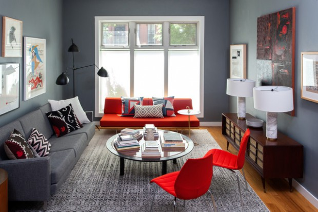 Nice How To Furnish A Living Room With A Red Sofa: 16 Stylish Ideas Part 32