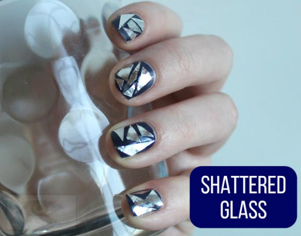 Shattered Glass Manicures  15 Creative DIY Nail Art Ideas