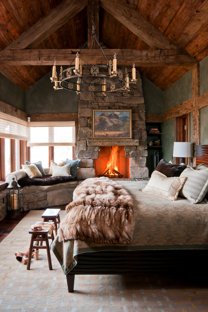 with cozy fireplace bedrooms pin romantic cabin bedroom