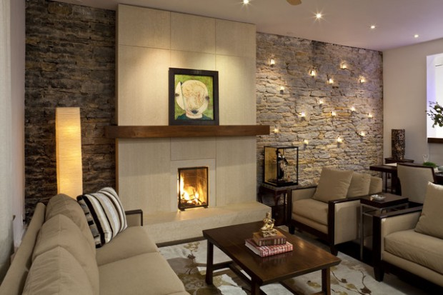 17 Divine Stone Wall Ideas For Your Living Room - Style Motivation