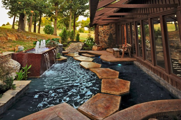 Beautiful stepping stone walkways 18 landscaping ideas for Contemporary koi pond design