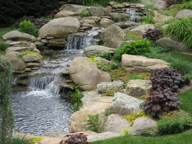 20 relaxing backyard waterfall ideas style motivation Garden waterfall designs