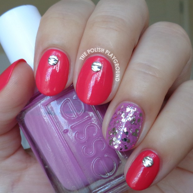 Pink Red with Silver Textured Nail Studs Nail Art