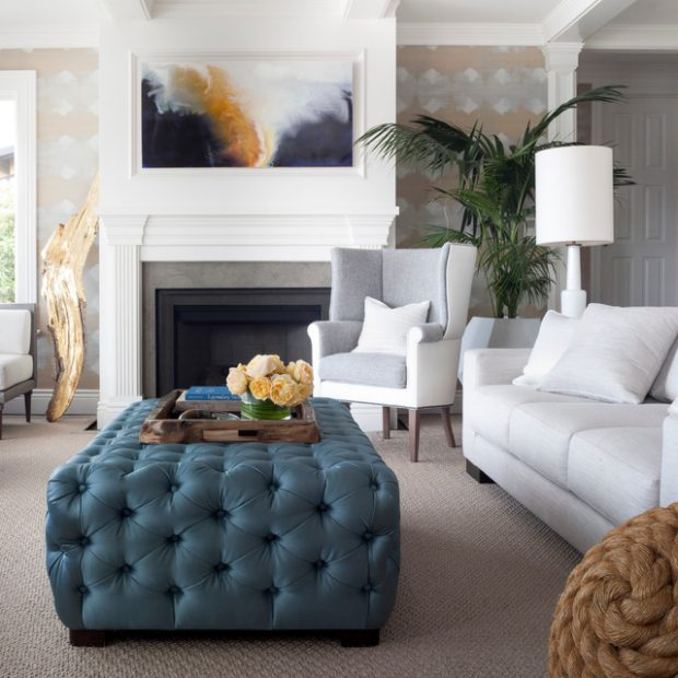 20 Gorgeous Living Room Design Ideas With Tufted Ottoman Coffee Table