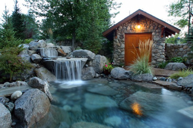 18 Landscaping Backyard Waterfall Design Ideas - Style Motivation