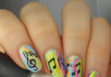 Music Inspired Nails: 13 Lovely Nail Art Ideas - nail art ideas, music inspired nail art, music