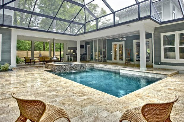 19 Stunning Covered Pool Design Ideas - Style Motivation