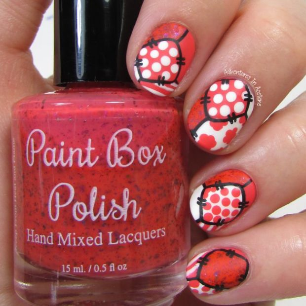 Coral-and-White-Patchwork-Nail-Art-2-650x650