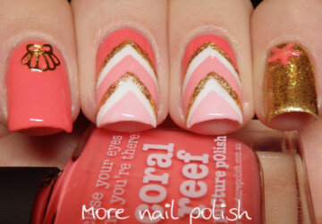 Mix of Coral and White Color Polishes for Perfect Summer Nail Art - white nail art, summer nail art, coral nail art ideas, Coral and White Color Polishes, Coral and White