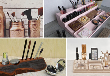 17 Chic Handmade Makeup Organizer & Beauty Station Ideas You'll Love - wood, woman, station, stand, organizer, mason jar, Makeup, lipstick, jewelry, holder, handmade, fashion, craft, cosmetic, brush, beauty