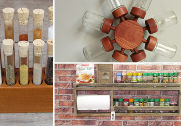 17 Creative Spice Rack Designs That Your Kitchen Lacks - wood, vintage, spices, spice, set, rack, kitchen, jars, jar, holder, handmade, glass, etsy, craft, cooking, cabinet