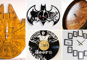 17 Inspirational Handmade Wall Clock Ideas That You Can Express Yourself With - wood, wine barrel, watch, wall, vinyl, time, The Doors, star wars, pink floyd, laser, handmade, etsy, engraved, diy, clock, batman, band