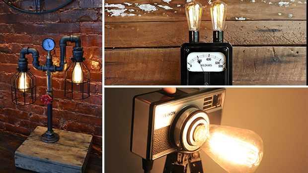17 Inventive Handmade Industrial Lamp Designs That Will Give You Ideas - table, steel, steampunk, pipes, pipe, lighting, light, Lamp, industrial, handmade, floort, edison, Easy, diy, copper, bulb
