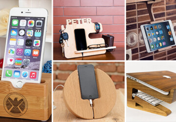 17 Inventive Handmade Dock And Stand Designs For Your Electronics - wood, tech, station, stand, smartphone, phone, MAC, laptop, iPhone, iPad, iMac, handmade, gadget, etsy, electronics, dock, diy, craft, computer, charging, charge, apple